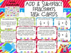 Add & Subtract Fractions and Mixed Numbers Task Cards: Word Problems and…