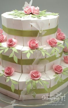 Stampin' Up! Stamping T! Wedding Favor Boxes, Wedding Cards, Foam Crafts, Paper Crafts, Cake Slice Boxes, Gift Wraping, Creative Box, Make Your Own Card, Paper Cupcake