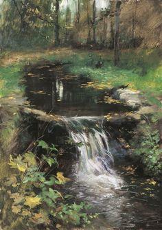 Место для покоя репродукция для интерьера картина пейзаж маслом цветы в живописи водопад