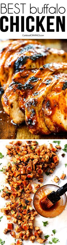 All Purpose Buffalo Chicken is SO juicy and flavorful from the easy marinade and is a meal all by itself or instantly transforms salads, sandwiches, wraps, tacos, etc into the most flavor bursting meal EVER! I love having this chicken on hand! #chicken #marinade #recipe #buffalo #buffalochicken #chickenmarinade via @carlsbadcraving