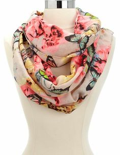 Butterfly & Floral Infinity Scarf: Charlotte Russe
