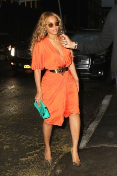 Derek Blasberg selects the 10 best dressed celebrities of the week: Beyonce wears a bright orange, body-hugging dress while vacationing in Italy