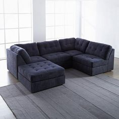 Harper Fabric 6 Piece Modular Sectional Sofa Tom Dixon Wingback Dimensions Chaise ...