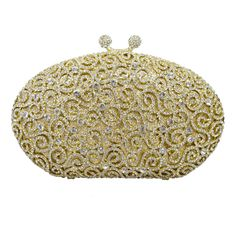 """Whirlpool Pattern Mini Crystal Evening Bags Party Bags Luxury Diamante Wedding Bridal Soiree Purse#360. 100% handmade evening bags. Manufacturing time 2-4 days, shipping time 3-5 days. Tracking number available. The evening bag has a chain. Approx dimension: 7"""" (L) x 1.8"""" (W) x 4.4"""" (H)."""