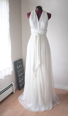 White Convertible/Infinity Dress with Silk Chiffon Skirt Overlay - Floor Length