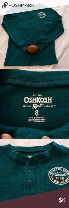 Oshkosh boys longsleve top Oshkosh boys top Teal color ***Comes from a pet & smoke free home** No rips or stains  Size 8 boys ***football not for sale*** OshKosh B'gosh Shirts & Tops Tees - Long Sleeve