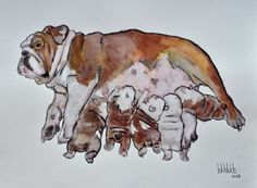 Barake Sculptor, ENGLISH BULLY MATERNITY, CHARCOAL & INK on ArtStack #barake-sculptor #art