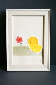Original illustration - Chick & poppy - Pencil, ink, collage - Art Nursery Home Decor Wall art Nature Countryside Flower Animal Baby Soft on Etsy, $69.63 CAD