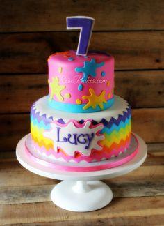 Rainbow Chevron Painting Party Cake