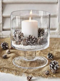 pinecones inspired rustic winter wedding centerpieces decorations candles 20 Perfect Centerpieces for Romantic Winter Wedding Ideas - Oh Best Day Ever Noel Christmas, Christmas Candles, Winter Christmas, Christmas Crafts, Outdoor Christmas, Modern Christmas, Classy Christmas, Nordic Christmas, Homemade Christmas