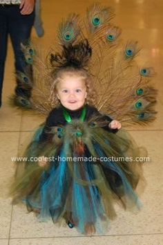 Homemade Peacock Costume: I really wanted something pretty and elegant for my little one and a half year old and I love tutus so I decided on a homemade peacock costume after combing