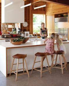 Wood trimmed formica for the kitchen.  Photograph by Matthew Hranek