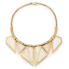 A Peace Treaty Ukru Inlaid Bone Bib Necklace featuring polyvore fashion jewelry necklaces apparel & accessories gold 24-karat gold jewelry chain jewelry chain necklace geometric triangle necklace chain statement necklace