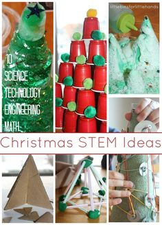 Christmas STEM Ideas for Kids using Science, Technology, Engineering, and Math.