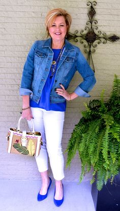 50 Is Not Old | Denim Jacket + White Jeans | Blue Suede Shoes | Fashion over 40 for the everyday woman