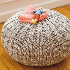 Kids Seating: Grey Variegated Pouf Seater   The Land of Nod