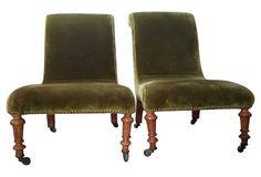 "Pair of early-19th-century mahogany and moss green-velvet slipper chairs. Brass studded velvet upholstery. Seats, 11.5""H. Some wear."