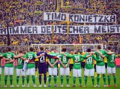 Borussia Dortmund vs. Werder Bremen  Minute of silence for Timo Konietzka (Photo by Lars Baron/Bongarts/Getty Images)