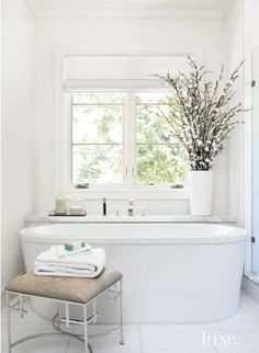 Transitional White Bathroom with Gold Marble - Luxe Interiors + Design Serene Bathroom, All White Bathroom, Beautiful Bathrooms, Small Bathroom, White Bathrooms, Master Bathrooms, Luxurious Bathrooms, Bathroom Tubs, Concrete Bathroom