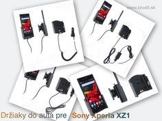 Nové držiaky do auta pre Sony Xperia XZ1. Pasívny držiak Brodit pre pevnú montáž v aute, aktívny s CL nabíjačkou, s USB alebo s Molex konektorom.