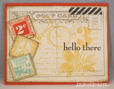 Stampin' Up! Convention 2013 Card Swaps.   Card by Lynn Dunn  Stamps: Post Card, Postage Due, Happy Day  Punch: Postage Stamp  Epic Day This & That Washi Tape