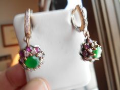 Vintage Deco 5.64ctw Emerald, Ruby and White Sapphire 925 Sterling Silver Lever Back Dangle Earrings, Wt. 9.2g by TamisVintageShop on Etsy