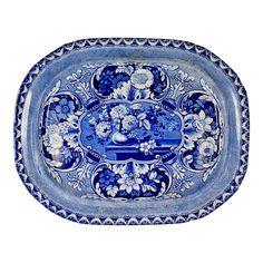 19th C. Davenport Staffordshire Transferware Platter, Vases & Medallions - Image 1 of 13
