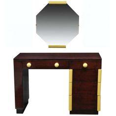 Art Deco Vanity Desk And Mirror Gilbert Rohde for Cavalier