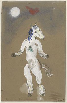 Marc Chagall. A Horse. Costume design for Scene II of the ballet Aleko. (1942)