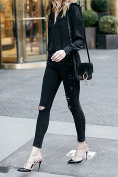 Fall Outfit, Winter Outfit, Black Ruffle Long Sleeve Blouse, Black Ripped Skinny Jeans, Chloe Faye Handbag, Valentino Rockstud Pumps