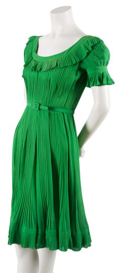 A Christian Dior Couture Green Chiffon Knife Pleated Dress,