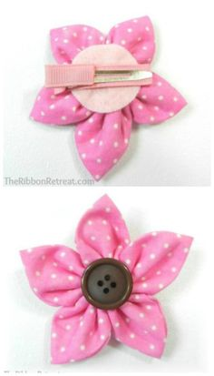 Ribbon Flower - 30 Fabulous and Easy to Make DIY Hair Bows Best Picture For DIY Hair Accessories fab Diy Hair Bows, Ribbon Hair Bows, Making Hair Bows, Diy Bow, Flower Hair Bows, Diy Hair Flowers, Diy Hair Clips, Diy Ribbon Flowers, Flower Clips