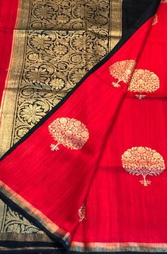 Shop online for Red Handloom Banarasi Dupion Silk Saree
