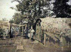 Baraques camouflées dans un cantonnement, à Rexpoede (Nord). Autochrome de Paul Castelnau (6 sept. 1917)
