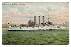 "US NAVY Battleship  USS  "" MAINE ""  Great White Fleet"