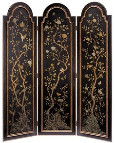 folding screens - arched top decorative folding screen - This sophisticated three-panel folding screen is made from wood and features an arched top and elegant raised arched paneling - #decorative #screen #foldingscreen