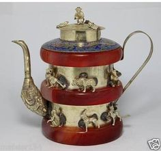 Animal Teapots | Tibet Silver Red Jasper 12 Animal Teapot used, new for sale - Holidays ...