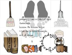 Primary 1,lesson 36, Sunbeams, I Can Be a Good Example lesson helps/visuals, FHE