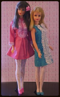 Vintage Barbies - Mod Standard Barbie and Twist n' Turn Francie....I still have the doll, blue dress, and stockings.