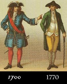 via Grimstocks Ravings: 1700 vs 1770 fashion I Love Fashion, Mens Fashion, Fashion Outfits, Golden Age Of Piracy, Peter And Wendy, Riding Habit, 18th Century Fashion, Postcard Art, Fashion Styles