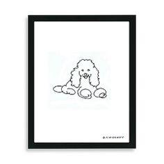 "Poodle Framed Line Drawing BBB $50 12""x15"""