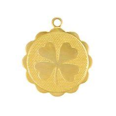 19mm Brass Four Leaf Clover Charm