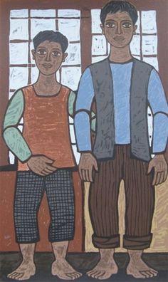 Σικελιώτης Γιώργος-Δύο φίλοι, 1983 Greek Paintings, Greek Art, 10 Picture, Printmaking, Artists, Paintings, Printing, Graphics, Prints