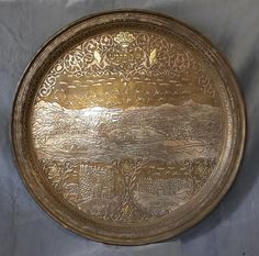 Antique Copper Islamic Tray Judaica 7.5kg Huge Plate Inlay Silver Gold Mdl.East