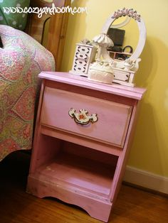 Cute Little Distressed Pink Night Stand - Buy Distressed Furniture I Cozy And Worn