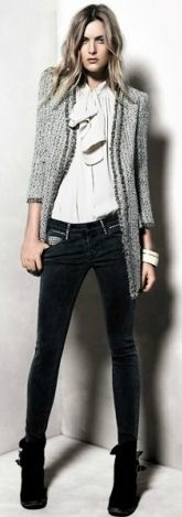 Love this skinny jean and long cardigan look!! The conservative silk blouse makes it sooo modern!!!