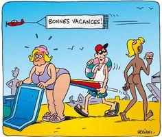 Dessins drôles sur les vacances..les joies de la plage !