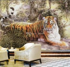 Chinese painting Wall Mural Tiger photo wallpaper Custom Animal Wallpaper Giant Art Room decor Bedroom Kid's room Living room Office gallery