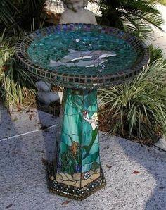 Mosaic Dolphin Birdbath by janna