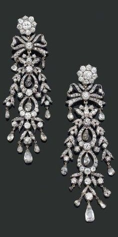 Georgian, 18th Century/19th Century composite: Silver, gold & diamond chandelier earrings